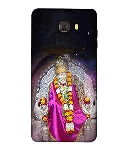 PrintVisa Designer Back Case Cover for Samsung C9 Pro (Sai Baba Idol In Cute Design Sitting On His Throne)