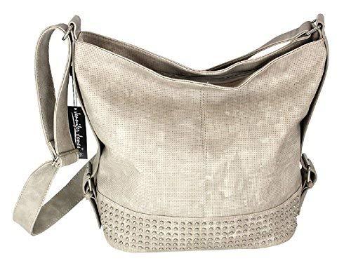Damen Schultertasche Handtasche XL Umhängetasche 3122 (Hellgrau)