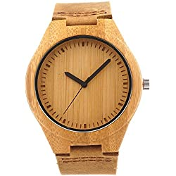 Affute | Mens Womens Wooden Bamboo Watch | Brown Genuine Leather Strap | Quartz Analog Miyota Movement