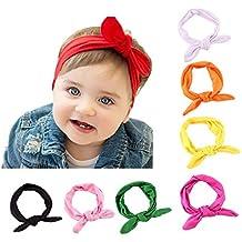 Enuo 8pcs Bebé Cordón Vanda Turbante Arco para el Cabello con las Oídos de Conejo para las Niños, Banda Elástica de Cabello