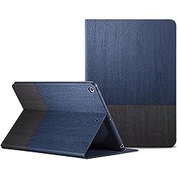 ESR Funda Nuevo iPad 2017 con [Auto-Desbloquear] y [Soporte de Multi-Ángulo de Visualización] Serie Mejorada de [Diseño de Folio] de Cuero de PU con Textura para Apple New iPad 2017 9.7 pulgadas -Azul