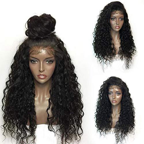 TianWlio Perücken DamenLockige Perücke Volle Spitzeperücken Schwarze Frauen Menschenhaar Mode Spitzefrontseitenperücke 22 Zoll