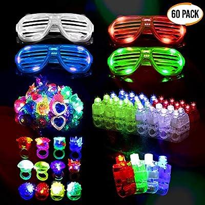 60 LED Dedos, Anillos Luces, Gafas Shutter Luz Juguetes - Neón Anillo Gafas Luminoso Juguete Creativo Y Para Fiestas Con Parpadeantes Regalos Para Cumpleaños Fiesta Bar Club Festival Música Disfraz de The Twiddlers