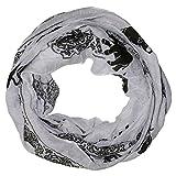 MANUMAR Loop-Schal für Damen | feines Hals-Tuch in grau schwarz mit Elefanten Motiv als perfektes Herbst Winter Accessoire | Schlauch-Schal | Damen-Schal | Rund-Schal | Das ideale Geschenk für Frauen