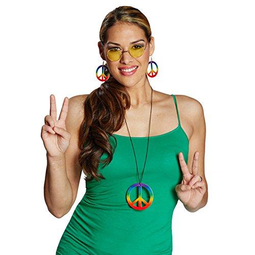 Rubie's Ohrringe Peace-Zeichen, bunt