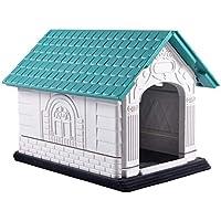 Nobleza - Caseta para Perros de Polipropileno Impermeable con tejado a Dos Aguas para Interior y Exterior. Blanco y Verde