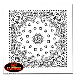 """Hot Leathers Bikers Bandanas Collection Original Design, 21"""" x 21"""" - BANDANA WHITE PAISLEY DESIGN by Officially Licensed & Trademarked Products"""