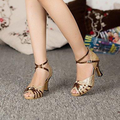 Scarpe da ballo - Disponibile su misura - Donna - Latinoamericano - Stiletto - Paillettes - Viola / Oro Gold