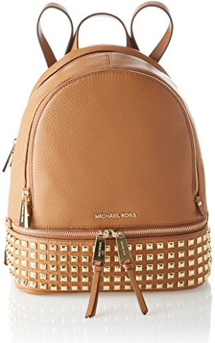 Michael Kors Rhea Zip - Bolso mochila de Piel para mujer Marrón Marrone (Acorn)