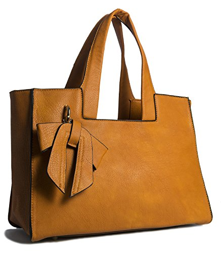 Big Handbag Shop ,  Damen Tornistertasche , Orange - orange - Größe: Einheitsgröße