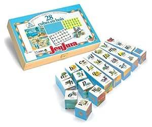 JeuJura - Jouet en bois - Eveil - Alphabet Et Chiffres - 28 Cubes