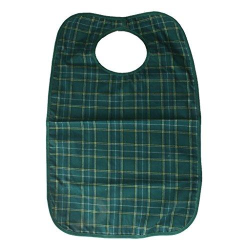 Wasserdichte Erwachsene Mahlzeiten Bib Schutzinvalidenhilfe Kleidung Schürze Blau - Gruen (Benutzerdefinierte Brust)