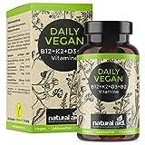 Daily Vegan - Vitamin B12+K2+D3+B2 Komplex - Kapseln - Hochdosiert, 120 Kapseln, speziell als Ergänzung für eine vegane/vegetarische Ernährung, glutenfrei, laktosefrei, hergestellt in Deutschland