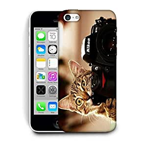 Snoogg Cat And Camera Designer Protective Back Case Cover For IPHONE 5C