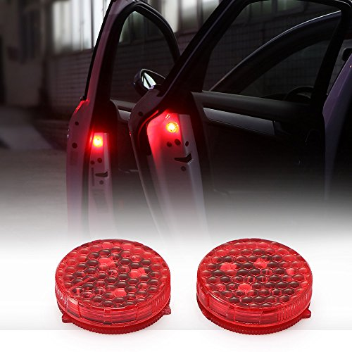 TiooDre Sportello d'auto Attenzione Luce con Red Strobe luci principali infiammanti di sicurezza aperta Reflecto lampade a LED magnetico senza fili impermeabile universale Red 2 pezzi