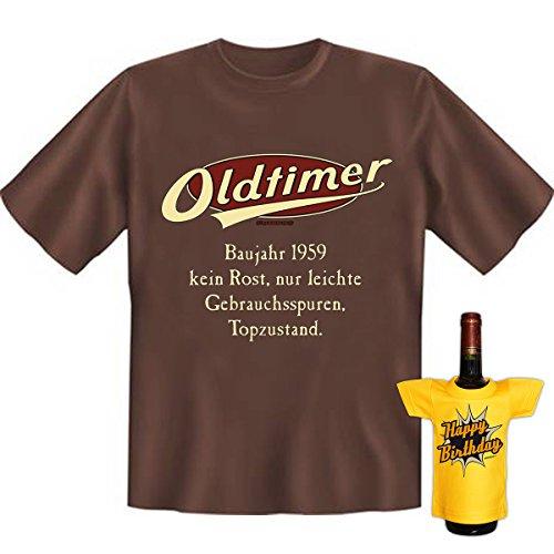 Geburtstags Set T-Shirt + Mini für die Flasche <->          Oldtimer Baujahr 1959          <->           ein kleines lustiges Geschenk Goodman Design®Braun Braun