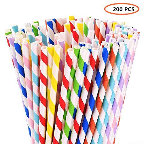 Biologisch abbaubar Papier Trinkhalme-verschiedene Farben rainbow Stripe Papier Trinkhalme-Bulk Papier Trinkhalme für Säfte, Shakes, Smoothies, Party Supplies Dekorationen (200Pack, 8Farben)