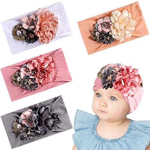 Tacobear Haarband Baby Stirnband Baby Mädchen elastische Haarband Bowknot Kopfband Turban Stirnband Schleife Baby Haarschmuck für Baby Kleinkinder (4 Blume Baby Stirnband mit Perle) - Vier Jahreszeiten Textilien