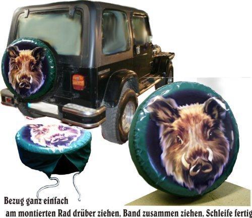 Bezug Reserverad Abdeckung Wildmotiv Keiler Kopf Jagd - Suzuki (Jeep Reserverad Abdeckung Jagd)