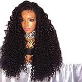 Xiaoqu negro peluca negra peluca peluca peluca de fibra química de encaje frontal peluca mayorista y minorista fibra química, 18 pulgadas