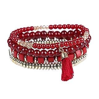Broadroot Personalized Ethnic Multilayer Beaded Tassel Elastic Bracelets (Red)