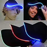 JIGUOOR LED Hat led Lighted Glow Club Party Sports Athletic Black Fabric Travel Flashlight light up Hat Baseball Golf Hip-hop Sports flash Cap Stage Performance Men Women (Multicolored)