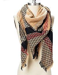 3f032af40294 Oussum 100% acrylique couverture à carreaux hiver longue châle mode hiver  chaud grande écharpe laine
