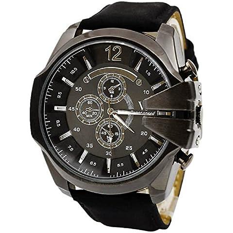 Malloom® hombres la moda de lujo analógico deporte Caso de acero cuarzo marcar cuero de la PU reloj de pulsera Negro + Negro