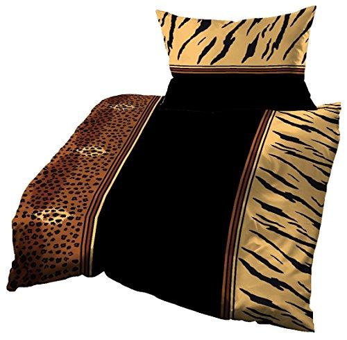 Gerald Wittmann Juego de Funda Nórdica Cama/Edredón Satén, 100% Algodón, Leopardos, Negro Marrón Amarillo, 140x200 cm + 70x90 cm