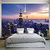 Wuyyii Fototapete Schöne New York City Nacht Landschaft 3D Wandbild Wohnzimmer Theme Hotel Fashion Decor Tapete