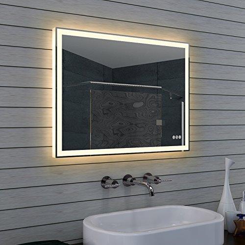 Diseño cuarto de baño espejo con regulador de intensidad, cálida y fría Color Blanco y Touch interruptor 80x 60cm