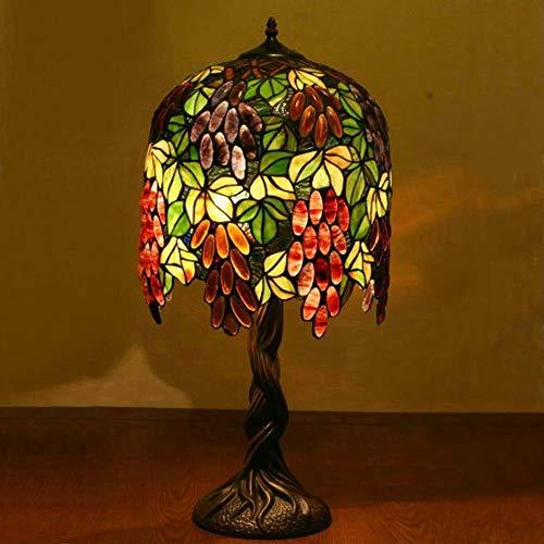 Tischleuchte aus farbigem Glas, Nachttischlampen im Tiffany-Stil, einfache Rückseite für Wohnzimmer Schlafzimmer Studiodekoration Nachtschalter, E27, W31cm + H64cm