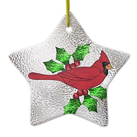 Cardinal in Stained Glass DoubleSided Star Ceramic Christmas Ornament
