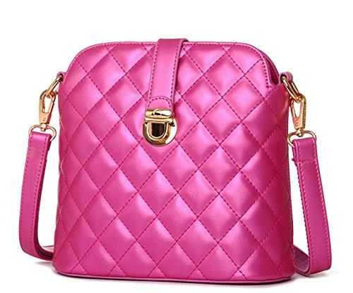Borse PU Modo Griglia Ricamati Tracolla Messenger Bag Pacchetto Diagonale Pink