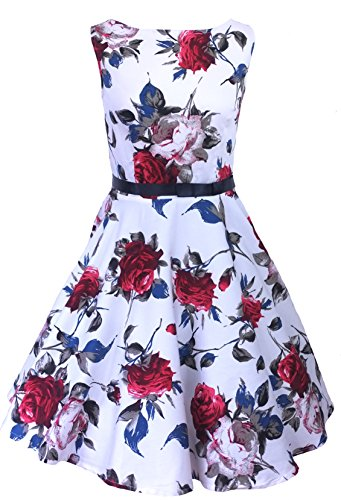 Nuovo Vintage Anni 50 Stile Floreale Rose Pattern cerchio swing Party Dress Plus Size UK 8 - 24 (24 Cerchio)