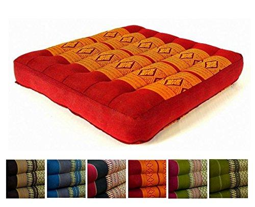Kapok Sitzkissen 35x35x6,5cm der Marke Livasia, optimal als Stuhlauflage oder Meditationskissen, Bodenkissen bzw. Stuhlkissen (rot / gelb)