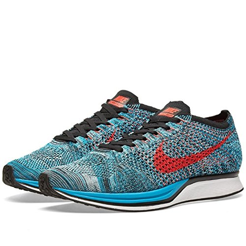 Nike Flyknit Racer, Chaussures de Running Entrainement Homme Vert / Rouge (Neo Turq / Brght Crimson-Glcr Ic)
