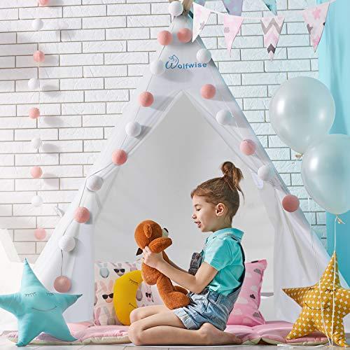 Wolfwise Tipi Kinderzelt, DIY Spielzelt Indianerzelt Gartenzelt, Geschenk für Kinder/ Jungen/ Mädchen/ Baby, aus Baumwollsegeltuch, Weiß - Glauben Kinder Teppich