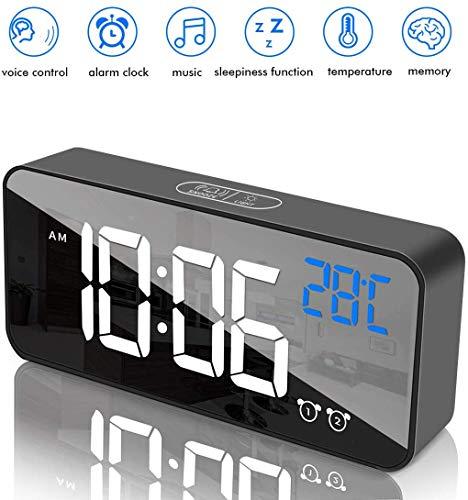 Hospaop Digitaler Wecker, LED Digital Wecker mit Temperaturanzeige, Spiegel Tischuhr, USB Wiederaufladbar Reisewecker mit Dual Alarm Snooze Sprachsteuerung Funktion, 4 Helligkeit, 13 Alarmtöne