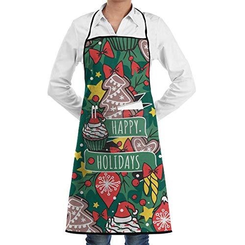 Garten-Schürze kochtn, Apron with Pockets - Christmas Holidays BBQ Apron for Men/Women/Chef/Baker/Servers/Waitress/Waiter ()