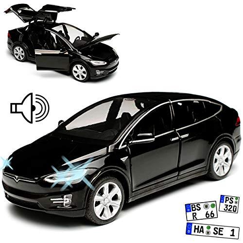 Tesla Model X SUV Schwarz Ab 2015 mit Licht und Sound 1/32 Modellcarsonline Modell Auto mit oder ohne individiuellem Wunschkennzeichen