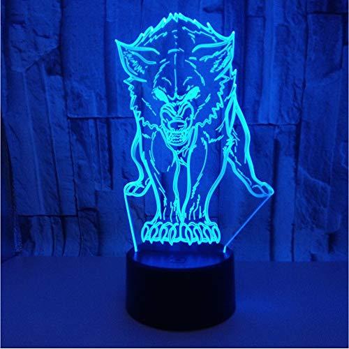 Mmzki Animal Wolf 3D-Led-Nachtlichter Für Kinder Von Wolf Im Teenageralter Teen Wolf-Stil Mit Modernem Licht