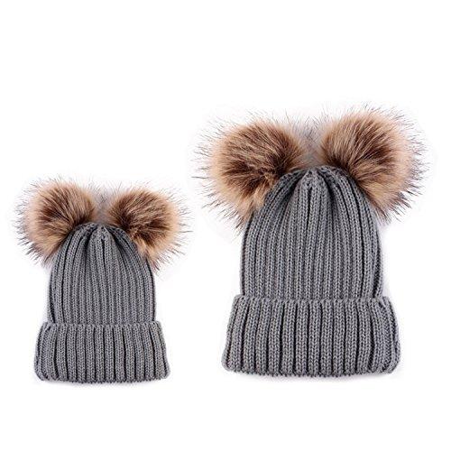 HMILYDYK Fashion Winter Strickmütze Beanie Bobble Hats Stilvolle Double Kunstfell Pom Poms Warm Ski Beret Cap, Grey(1 Mother's Hat + 1 Baby's Hat)