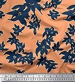 Soimoi Orange Viskose Chiffon Stoff künstlerisch Blumen-