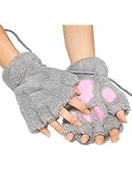 EQLEF® Un par de mujeres grises Oso de peluche gato Paw Claw medio guante dedo guantes de invierno suave