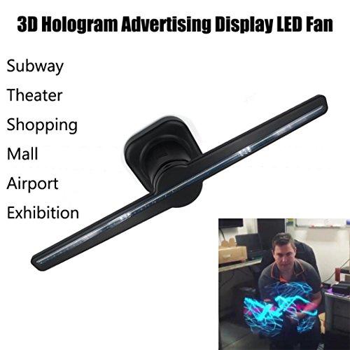 AMUSTER 3D Hologramm Projektor Ventilator LED Ventilator Hologramm 3D nackte Augen LED Fan Holographische Bildgebung Heimkino Projektor Beamer (Schwarz) (Hologramm-projektor)