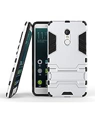 Fundas Xiaomi Rojomi Note 4 Funda Carcasa Case, Ougger Protector Extrema Absorción de Impacto [Kickstand] Piel Armor Cover Duro Plástico + Suave TPU Ligero Rubber 2in1 Back Gear Rear Plata