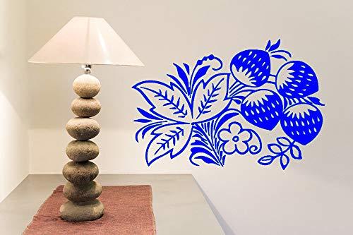 Zqyjhkou fiori ramo adesivo murale vinile decalcomania foglie di fragola bloom bacche impermeabile decorazioni per la casa murale baby room adesivi murali 6 83 cm x 56 cm