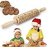 VZATT Rouleau à pâtisserie en Bois hêtre gaufrage Rouleau à Biscuits pâte à gâteau Rouleau à pâtisserie de Noël Outil à pâtisserie Cuisine gravé en Relief Décoration de Gâteaux