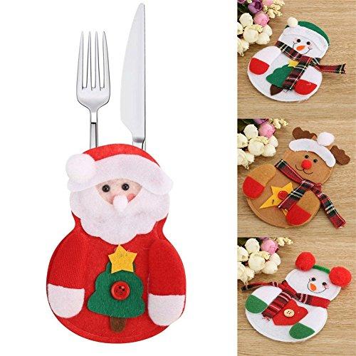 HENGSONG Weihnachten Tischdeko Bestecktasche Besteckbeutel Besteckhalter Tische Accessoires für Weihnachten Deko, 1 Stück / 3 Stück / 6 Stück (6 Stück, Weihnachtsmann)